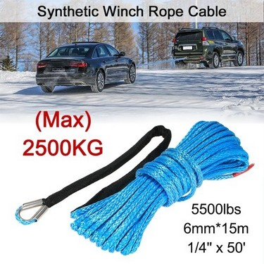 "6mm*15m 1/4"" x 50′ 5500lbs Synthetic Winch Rope Cable,Blue"