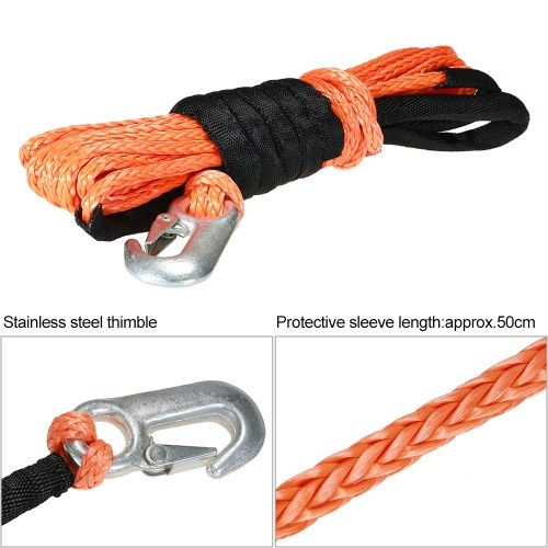 "6mm*8m 1/4""*27′ 5500lbs High Strength Synthetic Winch Line Cable Rope with Hook"