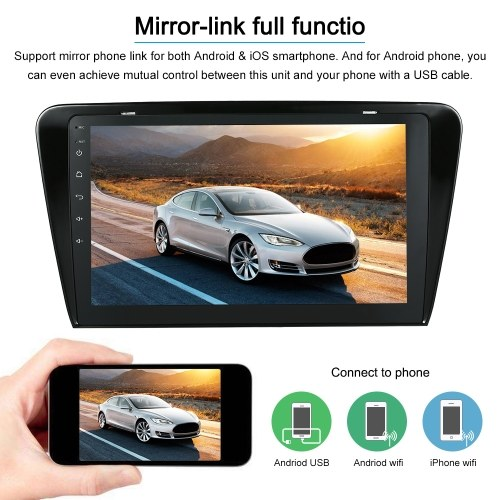 Android 7.1 System GPS Navigation 10.1 Inch Full HD 1080P Touchscreen 2 Din Car Stereo MP5 MP3 Player  For Skoda Octavia Stereo BT In-dash Navigation Supports for MirrorLink AUX SD/USB FM/AM Car Multimedia Player