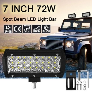 7inch 72W LED Light Bar Work Light Spot Beam Driving Fog Light Road Lighting for Car Jeep Truck SUV ATV Boat Marine