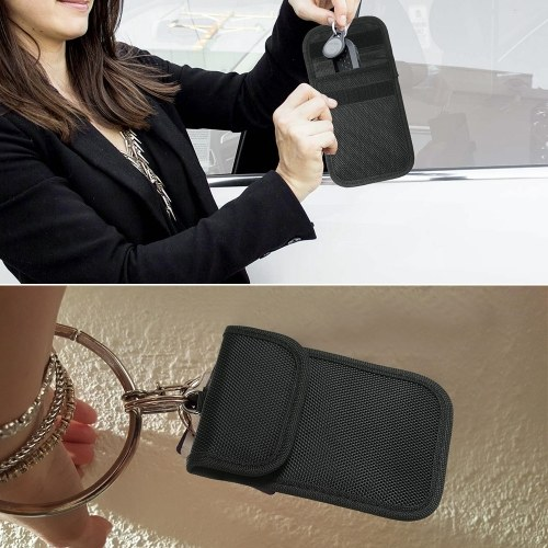 2 Pack Key Fob Signal Blocking Bag Auto RFID Blocking Holder Anti-hacking Security Bag for Car Smart Keyless Entry Remote Fob Controller