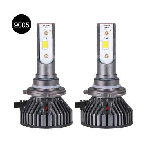 2 Pack 9005 Car LED Headlight Bulbs Conversion Kits Aluminum Alloy Body 30W 3800LM 6500K White/3000K Golden Yellow/4300K Natural Light Three Colors Five Modes