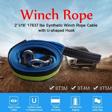 5cm*5m 2''x16' 17637lbs Synthetic Winch Rope Cable with U-shaped Hook,Blue