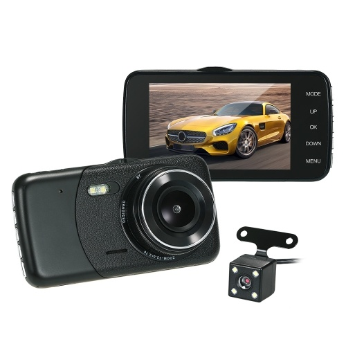 KKmoon 4″ Dual Lens Car DVR Dash Cam Camera with Vehicle Location Function