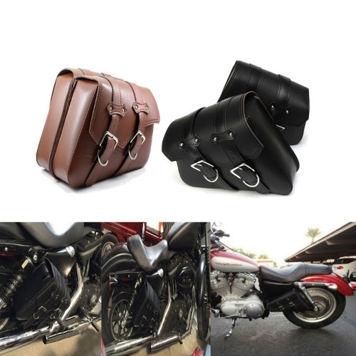 Motorcycle Luggage Autobike Pouch Bag PU Leather Side Bags Saddlebags for Motorbike