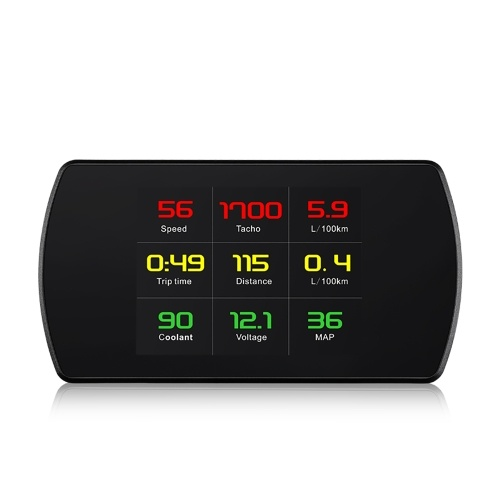 4.3″ Digital TFT LCD HUD Head Up Display OBDII Interface Acceleration Mode Test Vehicle Speed Water Temperature Voltage Consumption System
