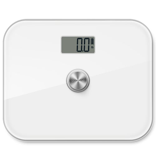 dodocool Battery-free Precision Digital Body Weight Scale with Extra Large Tempered Glass and LCD Display 330 lb. Capacity White