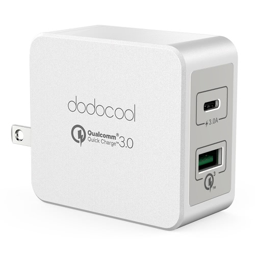 dodocool 33W 2-Port USB Wall Charger Power Adapter with 18W Quick Charge 3.0 and 15W Reversible Type-C Charging Ports Foldable US Plug White