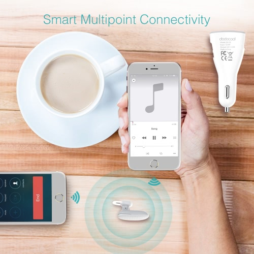 dodocool 2-in-1 Multifunction Wireless Headphone Dual USB Car Charger with Built-in HD Mic Handsfree Earbud White