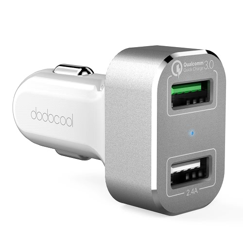 dodocool 30W 2-Port USB Car Charger with Quick Charge 3.0 for LG G5 / HTC One A9 / Xiaomi Mi 5 / LeTV Le MAX Pro and More USB-powered Devices White Silver