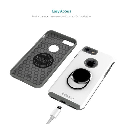 dodocool Phone Case with Universal 360 Degree Rotatable Ring Grip Stand Ultimate Protection Hard Shell for 4.7-inch iPhone 7 White