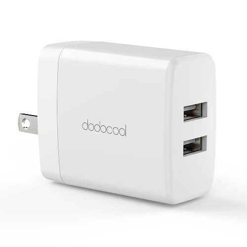 dodocool 24W 2-Port USB Wall Charger Travel Power Adapter USB-powered Devices US Plug White