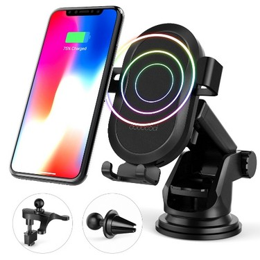 dodocool 10W Fast Wireless Car Charger for Samsung Galaxy Note8/S8/S8 Plus/S7/S7 edge/Note5/S6 edge Plus/iPhone X/8 Plus/8 and Other Qi-enabled Devices