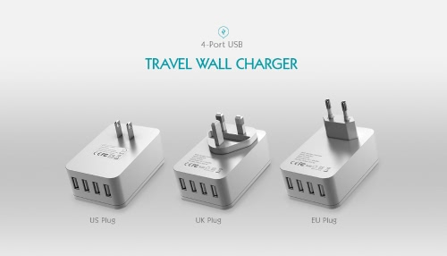 dodocool 20W 4A Smart 4 USB Charging Port Portable Multi-function Travel Power Adapter Wall Charger with Universal AC Outlet US Plug