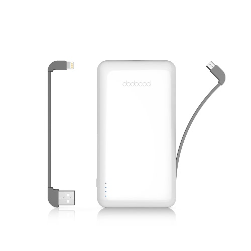 dodocool MFi Certified Ultra Slim 10000 mAh 2-Port Power Bank Portable Charger Backup External Lithium Polymer Battery Pack with Detachable Lightning Cable and Micro-USB Cable for iPhone X / iPhone 8 Plus / iPhone 8 / iPhone 7 Plus / iPhone 7 / iPhone SE/iPad/iPod and Other iOS and Android Devices White