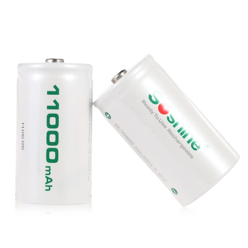 2pcs/lot Soshine D/R20 Size 11000mAh 1.2V Low Discharge Rechargeable Ni-MH Battery RTU D11000
