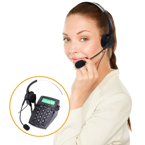 HT500 Headset Telephone Desk Phone Headphones Headset Hands-free Call Center Noise Cancellation Monaural with Backlight