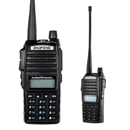 Original BAOFENG UV-82 VHF/UHF Dual Band Handheld Transceiver Interphone with LCD FM Radio Receiver 5W 128 Memory Channels CB Radio Dual PTT Launch Key DTMF Encode Emergency Alarm Voice Broadcast VOX Function Battery Save LED Flashlight Walkie Talkie