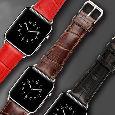 Luxury Geniune Watchbands Leather Strap Classic Stainless Steel Buckle Smart Watch Bands for Apple Watch iWatch 42mm