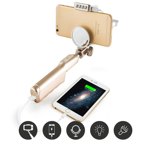 Mlais 2-in-1 Portable Extendable Cable Selfie Handheld Monopod Stick Holder + 3200mAh Power Bank with Mirror Flasher for iPhone 6 6 Plus 6S 6S Plus Samsung Smartphone