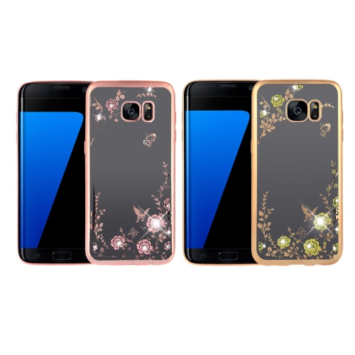 Original KKmoon Luxury Protective Clear TPU Back Case Bling Rhinestone Bumper Frame Flexible Design with Crystal Diamond Plating Phone Shell Cover for Samsung Galaxy S7 Edge