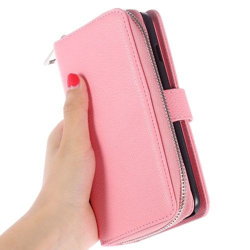 KKmoon 2 in 1 Zipper Wallet Phone Case Cover PU Leather Protective Shell Detachable Folio Flip Holster Carrying Case Card Holder for iPhone 6 Plus 6S Plus 5.5inch