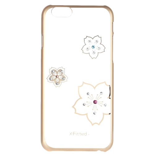 Original X-Fitted Luxury 360° Full Protective Clear Back Case Plate Bumper Phone Shell Hard Cover with Rhinestones Plating Design for iPhone 6 Plus 6S Plus 5.5inch