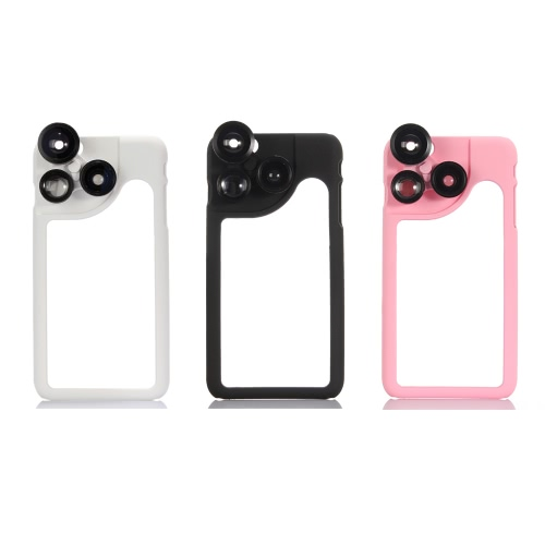 KKmoon 4-in-1 Phone Photo Lens 180° Fisheye 120° Wide Angle 2X Telephoto 2X Macro Set with Case for iPhone 6 Plus 6S Plus