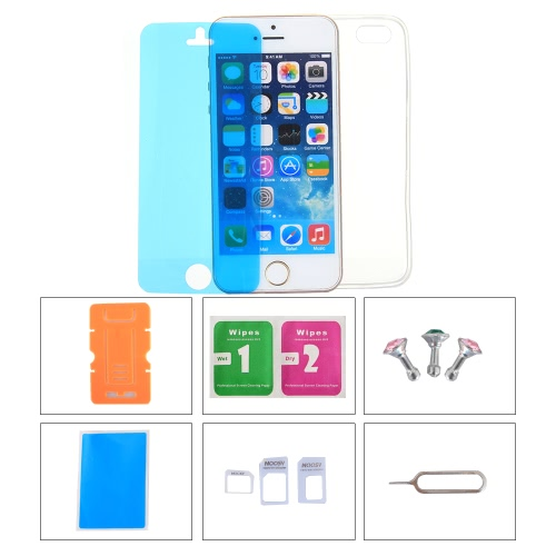 Phone Accessories Protective Back Case Screen Film Protector Phone Stand Card Slot Pin Earphone Dust plug for iPhone 5C