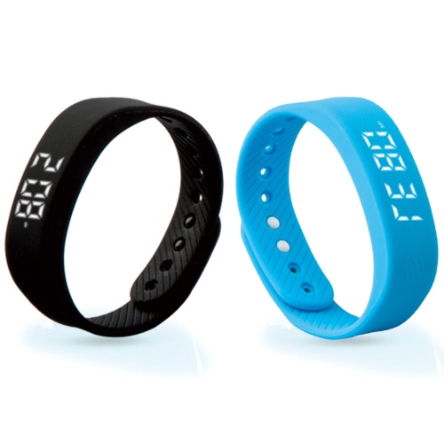 T5 All Day 3D Pedometer Smart Sport Wirstband Step Gauge Bracelet Intelligent Meter Sports Band LED Display Track Calories Distance Time/Date Exercise Data Records Wrist Band