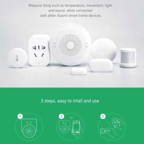 Original Xiaomi Gateway Smart Home Device Multifunctional Gateway Intelligent Mini Online Radio Night Light Bell Remote Control Alarm System Support Android iOS APP