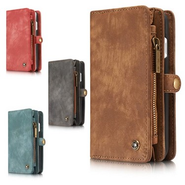 CaseMe 2 in 1 Zipper Wallet Phone Case Cover PU Leather Protective Shell Detachable Folio Flip Holster Carrying Case Card Holder for iPhone 7 Plus 5.5inch