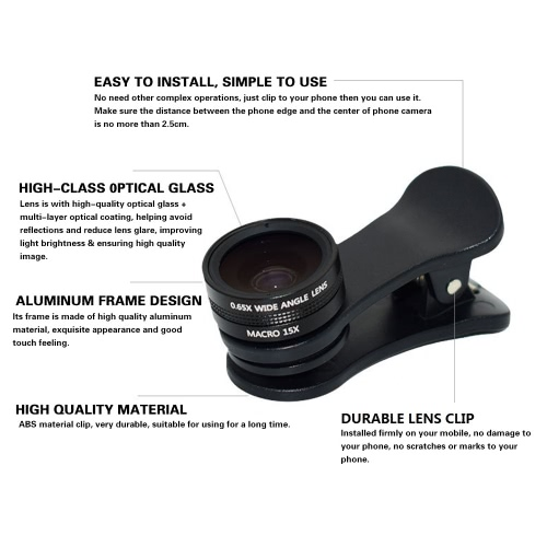 2 in 1 HD 0.65X Wide Angle Lens 105° & 15X Macro Lens Set External Clip-on Cell Phone Camera Photo Lens Kit for Smartphones