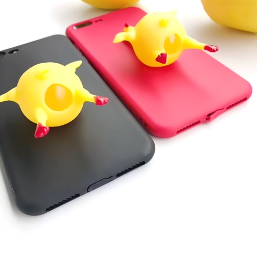 Funny Cute Lovely 3D Chicken Lay Egg Squishy Cover Reduce Stress Antiskid Phone Case Shell Compatible for Iphone6 6Plus Iphone7 7Plus