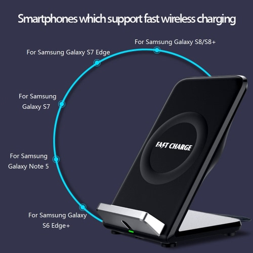 Qi Wireless Fast Charging Stand Holder Quick Charge Built-in Cooling Fan Dual Coils for iPhone 8/8 Plus iPhone X Samsung Galaxy S8/S8+/S7/S7 Edge/S6 Edge and Other Qi-enabled Smartphones