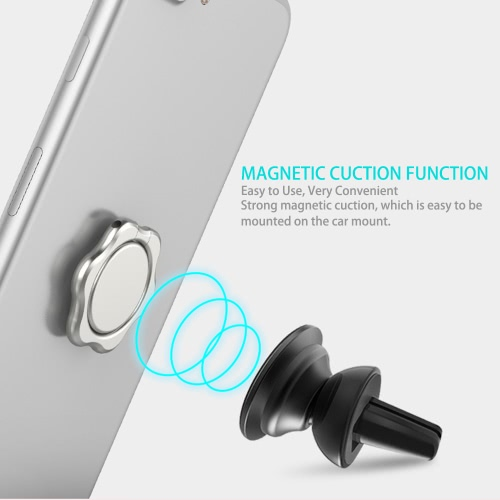 Universal Cell Phone Ring Holder Magnetic Suction Finger Ring Stand Car Mount Grip Kickstand 360° Rotation for Smartphones Tablets