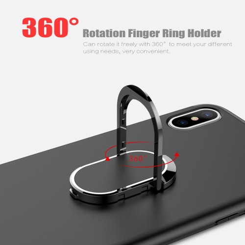 Phone Case Ultra-thin Soft Shell PC+TPU Shock-Absorption Anti-Scratch 360°Protection Cellphone Case Protective Shell Back Cover with 360° Rotation Finger Ring Holder for iPhone X
