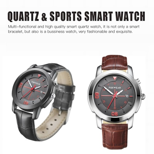 FOXWEAR Smart Watch Quartz Smartwatch BT Bracelet Intelligent Anti-Lost Alarm Clock Calls Messages Reminder Calorie Pedometer Sleep Monitor Health Sports Wristband Waterproof for IOS Android Mobile Phones