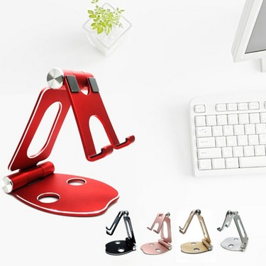 Universal Foldable Aluminum Stand Fully Adjustable Angle Scratch-free Cell Phone Desktop Cradle Holder Dock Bracket for Smartphones Tablets