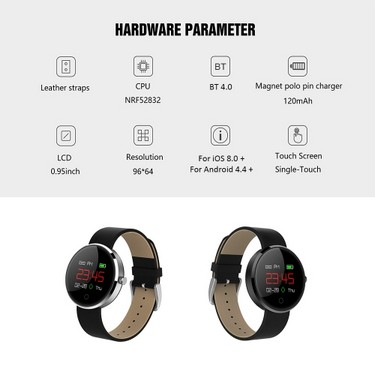 Multi-functional Smart Bracelet Watch with Touch Screen 0.95″ Color OLED Display Waterproof BT4.0 Wristwatch Smartwatch Heart Rate/Blood Pressure/Sleep Monitor Pedometer Call Reminder Messages Notification