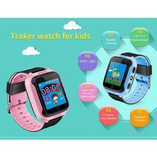Kids Smart Watch Phone for Children Girls Boys 1.44″ TFT Touch Screen GPS Locator Tracker Built-in Camera Flashlight Smartwatch with SIM Card Slot Remote Voice Monitoring Calls SOS Alarm Suitable for iOS Android Smartphones