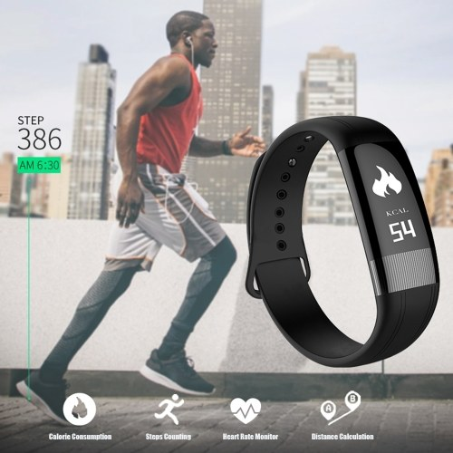 Smart Sport Health Beacelet Fitness Tracker 0.73″ OLED Display Screen with Touch Control Detachable Wristband Pedometer ECG/Blood Pressure/Heart Rate Monitor Temperature Monotoring Call/Message Reminder Anti-lost
