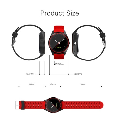 Multi-functional V9 Smart Watch BT Smartwatch 1.22″ Touchscreen IPS Display with Camera Built-in SIM Card & TF Card Slot Wristwatch Pedometer Sleep Monitor