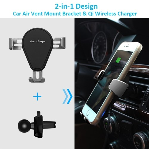 Wireless Charger Stand Gravity Bracket Car Air Vent Mount Holder Qi Standard 10W Fast Charging Stand for iPhone X/8/8 Plus & Samsung Galaxy S8/S8+/S7 Edge/S6 Edge+/Note 5/Note 8