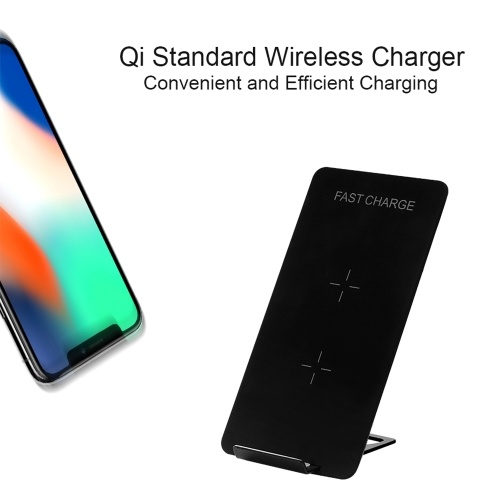 Qi Standard Wireless Charger Fast Charge Charging Pad Stand Safety Protection Built-in Dual Coils for Samsung Galaxy S8/S8+/Note 5/Note 8 or for iPhone X/8/8 Plus and More Qi-Enabled Smartphones