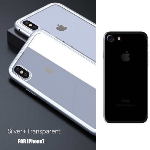Transparent White Metal-rimmed Phone Bumper Case for Iphone 7