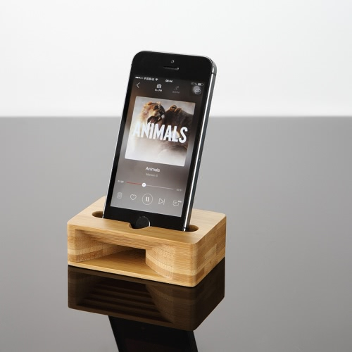 Multi-Function Cell Phone Stand Holder Bamboo Wood Dock with Sound Amplifier Natural Stands Within 5.5 Inches for iPhone 7 6s Samsung S6 S7 S8 Smartphones