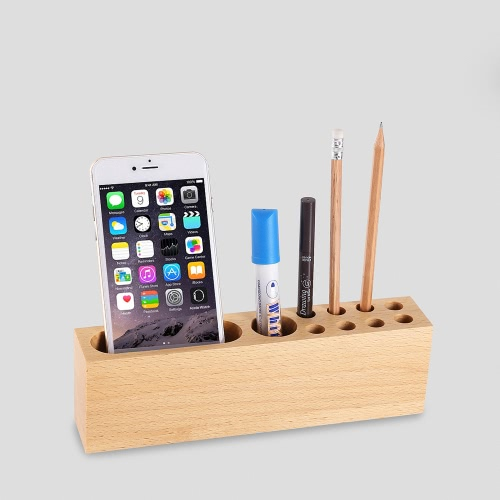 Multi-Function Cell Phone Stand Holder Natural Wood Dock Stand for iPhone 7S 6S Samsung S8 Xiaomi Smartphones Pens Office Table Accessories