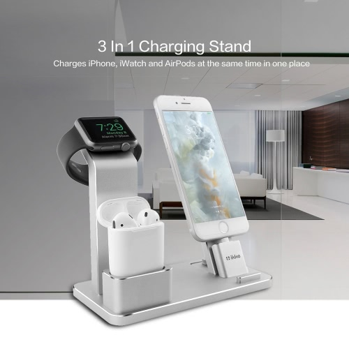 4 in 1 Mobile Phone Stand Desk Charge Dock Station Bracket Cradle Stand Holder for iPhone 6 7 6S Plus iPad Mini 1 2 Air 2 iWatch AirPods