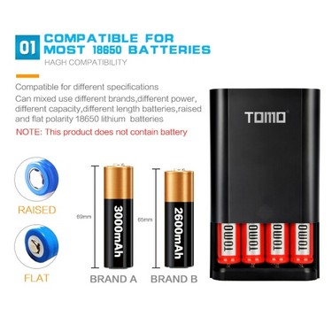 TOMO M4 Battery Charger 4*18650 Power Bank External USB Charger with Intelligent LCD Display for iPhone X Samsung S8 Note 8